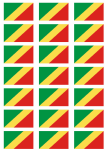 Congo Brazzaville Flag Stickers - 21 per sheet